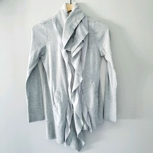 COMME TOI GRAY WATERFALL CARDIGAN